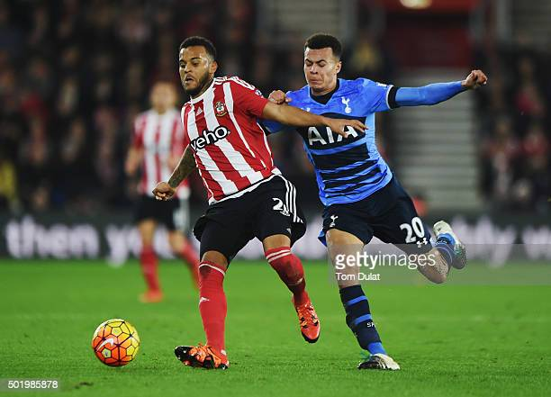 Ryan Bertrand of Southampton holds off Dele Alli of Tottenham Hotspur during the Barclays Premier League match between Southampton and Tottenham...