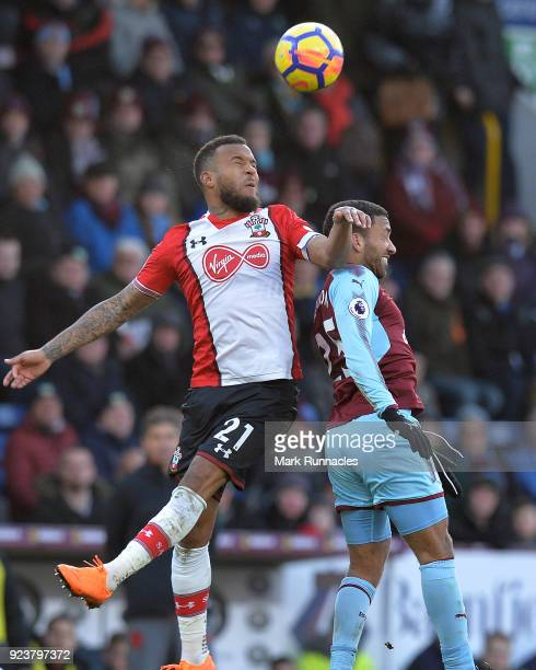 Ryan Bertrand of Southampton is challenged by Aaron Lennon of Burnley during the Premier League match between Burnley and Southampton at Turf Moor on...
