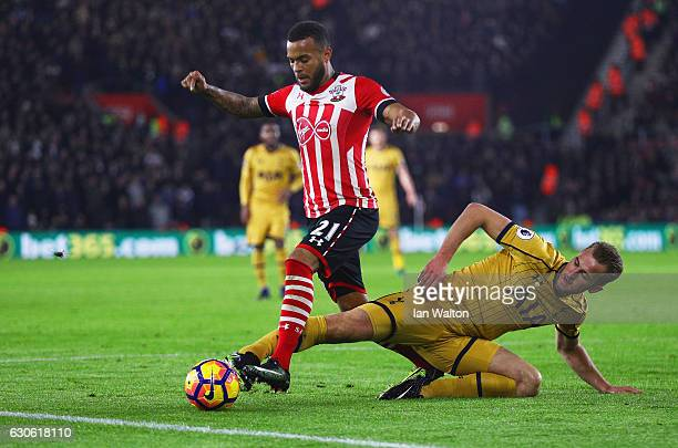 Ryan Bertrand of Southampton is tackled by Harry Kane of Tottenham Hotspur during the Premier League match between Southampton and Tottenham Hotspur...