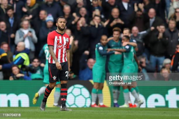 Ryan Bertrand of Southampton looks dejected following Harry Kane of Tottenham Hotspur scoring his team's first goal during the Premier League match...