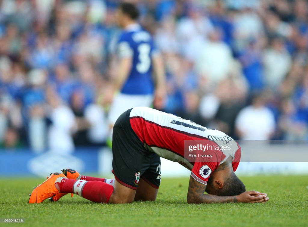 Ryan Bertrand of Southampton reacts after Everton equalise during the Premier League match between Everton and Southampton at Goodison Park on May 5, 2018 in Liverpool, England.