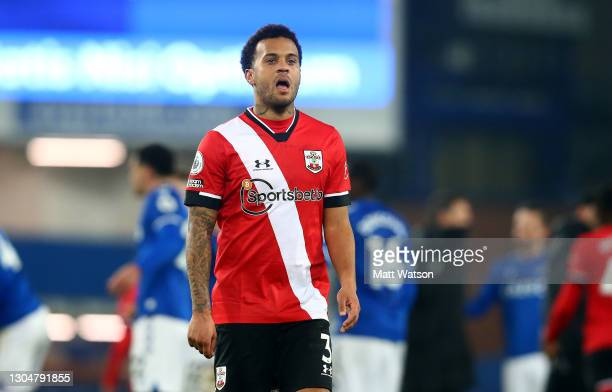 Ryan Bertrand of Southampton reacts during the Premier League match between Everton and Southampton at Goodison Park on March 01, 2021 in Liverpool,...