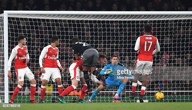Ryan Bertrand of Southampton scores his team's second goal of the game during the EFL Cup quarter final match between Arsenal and Southampton at the...