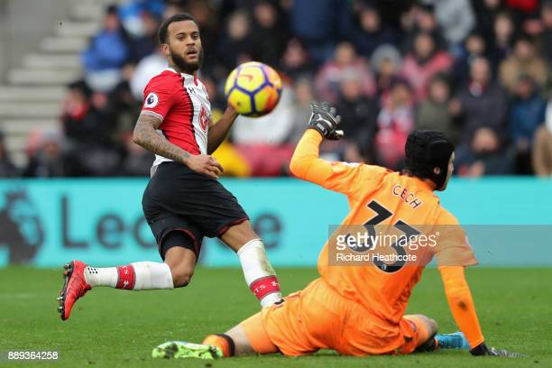 Ryan Bertrand of Southampton shoots and misses during the Premier League match between Southampton and Arsenal at St Mary's Stadium on December 9...