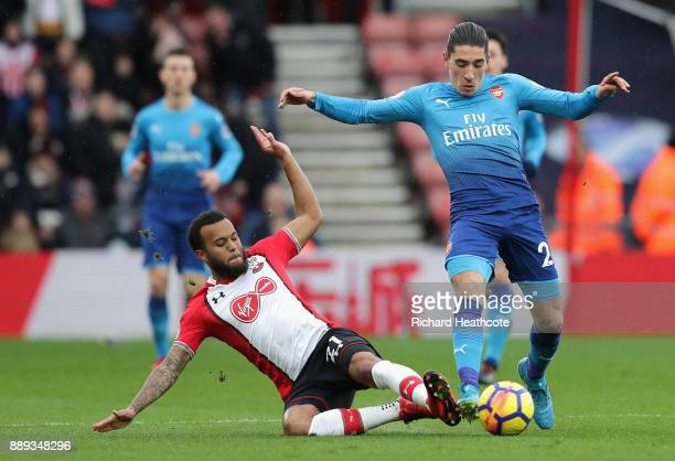 Ryan Bertrand of Southampton tackles Hector Bellerin of Arsenal during the Premier League match between Southampton and Arsenal at St Mary's Stadium...