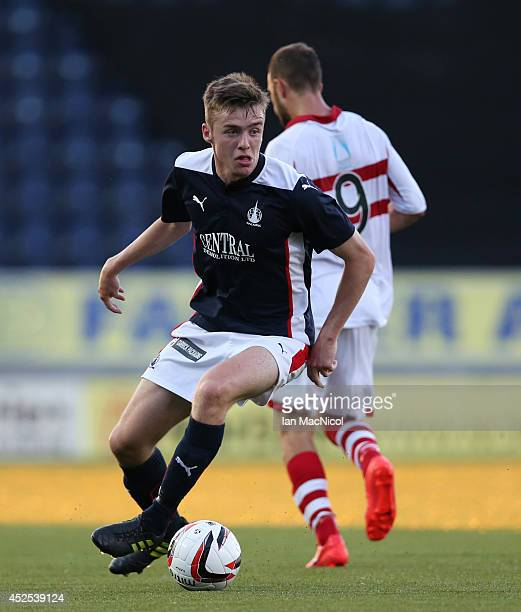 Ryan Blair of Falkirk controls the ball during the Stirlingshire Cup Final match between Falkirk and Stirling Albion at The Falkirk Stadium on July...