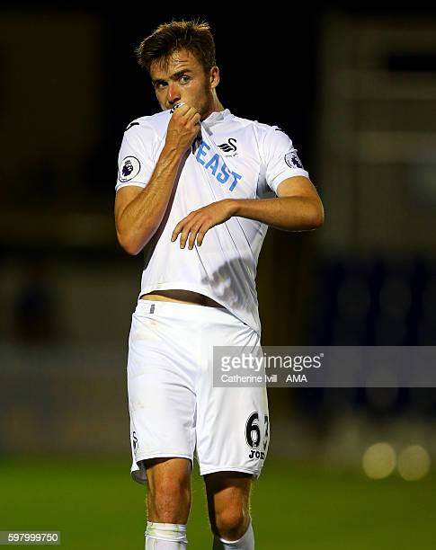 Ryan Blair of Swansea City during the Checkatradecom Trophy match between AFC Wimbledon and Swansea City at The Cherry Red Records Stadium on August...