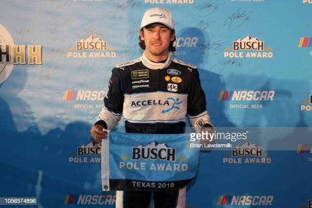 Ryan Blaney driver of the Accella/Carlisle Ford poses for a photo after winning the pole award during qualifying for the Monster Energy NASCAR Cup...