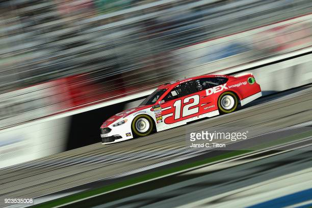 Ryan Blaney driver of the DEX Imaging Ford qualifies for the Monster Energy NASCAR Cup Series Folds of Honor QuikTrip 500 at Atlanta Motor Speedway...