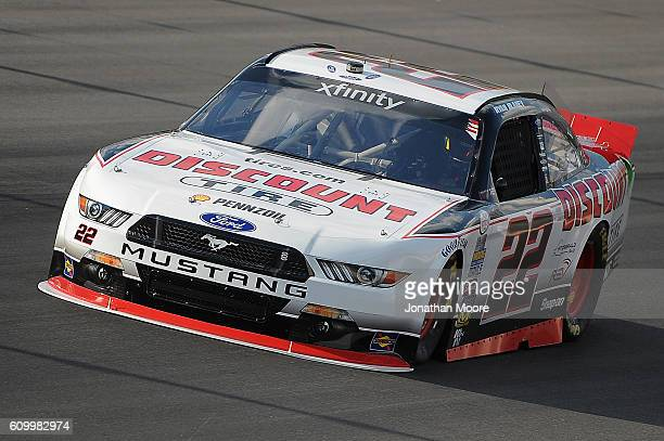 Ryan Blaney driver of the Discount Tire Ford on track during practice for the NASCAR XFINITY Series VysitMyrtleBeachcom 300 at Kentucky Speedway on...