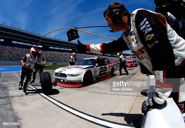 Ryan Blaney driver of the Discount Tire Ford pits during the NASCAR XFINITY Series My Bariatric Solutions 300 at Texas Motor Speedway on April 8 2017...