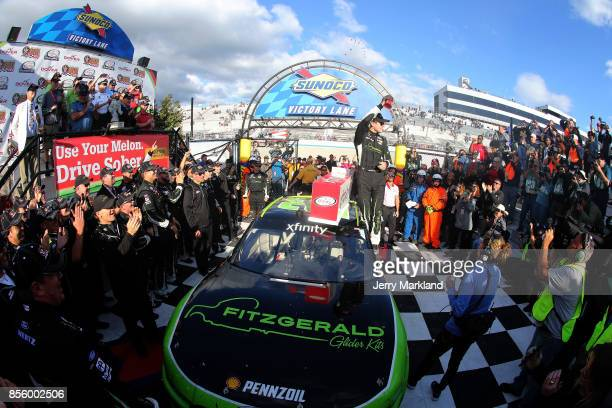 Ryan Blaney driver of the Fitzgerald Ford celebrates in Victory Lane after winning the NASCAR XFINITY Series Use Your Melon Drive Sober 200 at Dover...