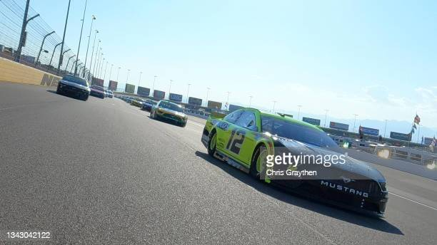 Ryan Blaney, driver of the Ford, leads the field on a pace lap prior to the NASCAR Cup Series South Point 400 at Las Vegas Motor Speedway on...