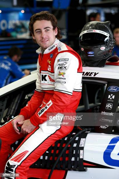 Ryan Blaney driver of the Hawk/Carlisle Ford waits in the garaage during practice for the Monster Energy NASCAR Cup Series AllStar Race at Charlotte...