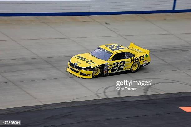 Ryan Blaney driver of the Hertz Ford drives during practice for the NASCAR XFINITY Series Buckle Up 200 presented by Click It Or Ticket at Dover...