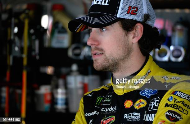 Ryan Blaney driver of the Menards/Duracell Ford stands by his car during practice for the Monster Energy NASCAR Cup Series AAA 400 at Dover...