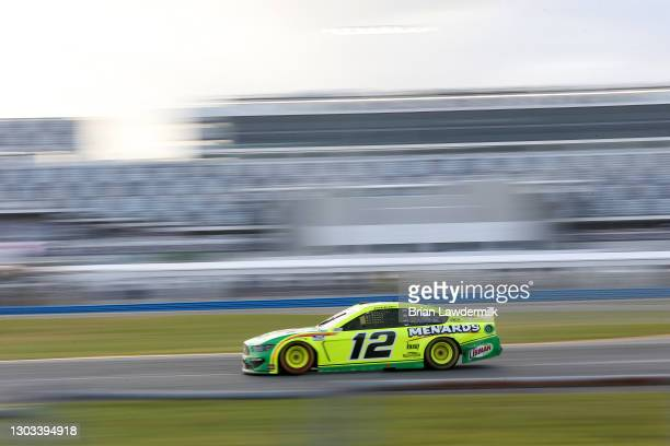 Ryan Blaney, driver of the Menards/Libman Ford, drives during the NASCAR Cup Series O'Reilly Auto Parts 253 at Daytona International Speedway on...