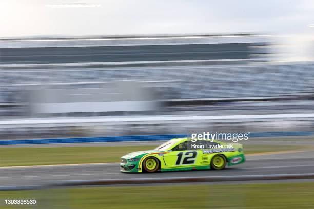 Ryan Blaney, driver of the Menards/Libman Ford, during the NASCAR Cup Series O'Reilly Auto Parts 253 at Daytona International Speedway on February...