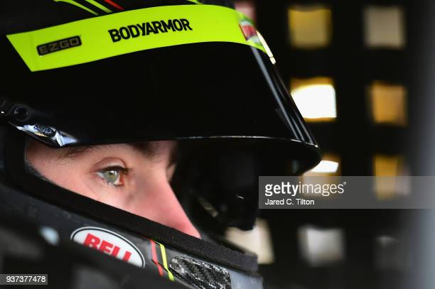 Ryan Blaney driver of the Menards/Libman Ford sits in his car during practice for the Monster Energy NASCAR Cup Series STP 500 at Martinsville...