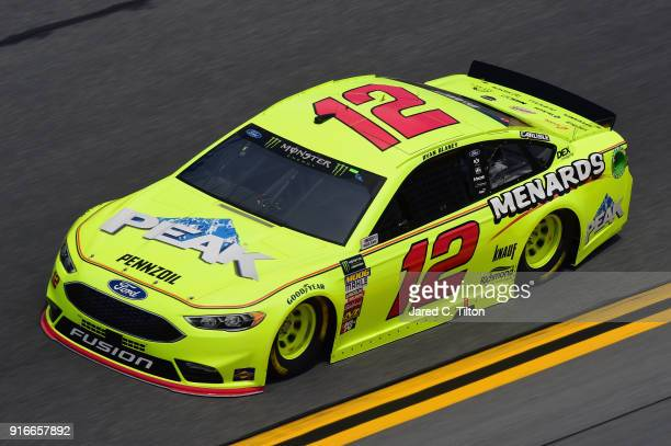 Ryan Blaney driver of the Menards/Peak Ford practices for the Monster Energy NASCAR Cup Series Daytona 500 at Daytona International Speedway on...