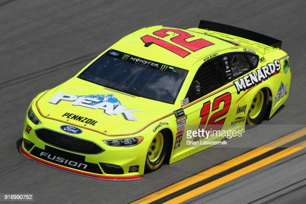 Ryan Blaney driver of the Menards/Peak Ford qualifies for the Monster Energy NASCAR Cup Series Daytona 500 at Daytona International Speedway on...
