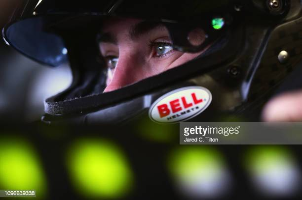 Ryan Blaney driver of the Menards/Peak Ford sits in his car during practice for the Monster Energy NASCAR Cup Series Advance Auto Parts Clash at...