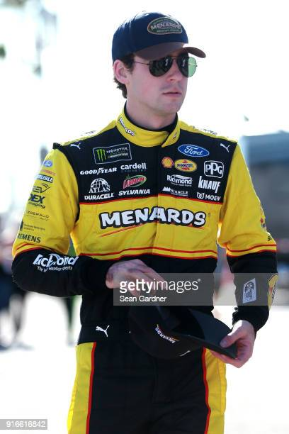 Ryan Blaney driver of the Menards/Peak Ford walks to his car during practice for the Monster Energy NASCAR Cup Series Advance Auto Parts Clash at...