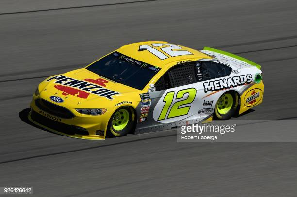 Ryan Blaney driver of the Menards/Pennzoil Ford drives during practice for the Monster Energy NASCAR Cup Series Pennzoil 400 presented by Jiffy Lube...