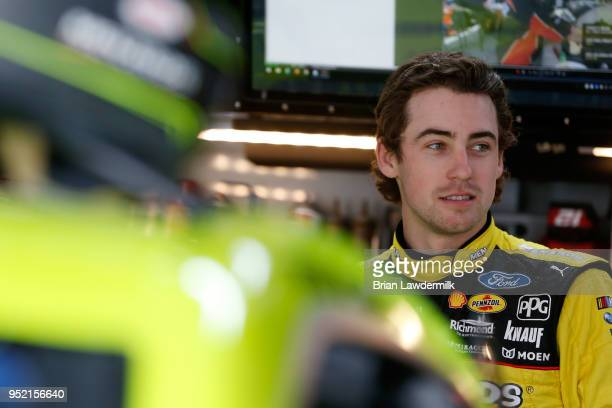 Ryan Blaney driver of the Menards/Richmond Ford stands in the garage area during practice for the Monster Energy NASCAR Cup Series GEICO 500 at...