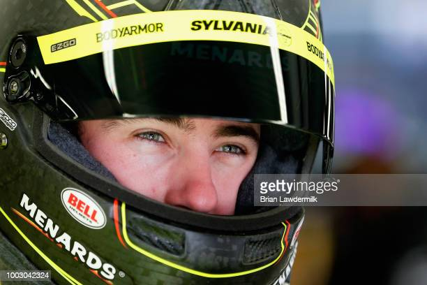 Ryan Blaney driver of the Menards/Sylvania Ford looks on during practice for the Monster Energy NASCAR Cup Series Foxwoods Resort Casino 301 at New...