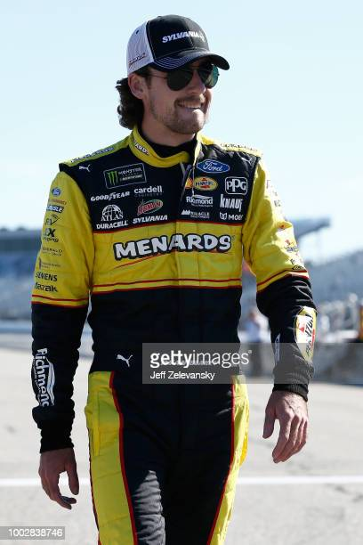 Ryan Blaney driver of the Menards/Sylvania Ford walks on pit road during qualifying for the Monster Energy NASCAR Cup Series Foxwoods Resort Casino...