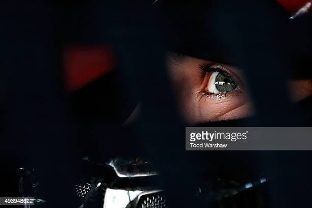 Ryan Blaney driver of the Motorcraft/Quick Lane Tire Auto Center Ford looks on during practice for the NASCAR Sprint Cup Series CampingWorldcom 500...