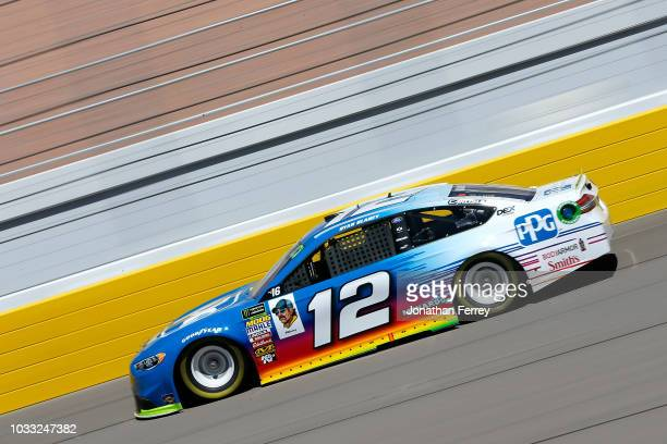 Ryan Blaney driver of the PPG Ford drives during practice for the Monster Energy NASCAR Series South Point Hotel and Casino 400 at Las Vegas Motor...