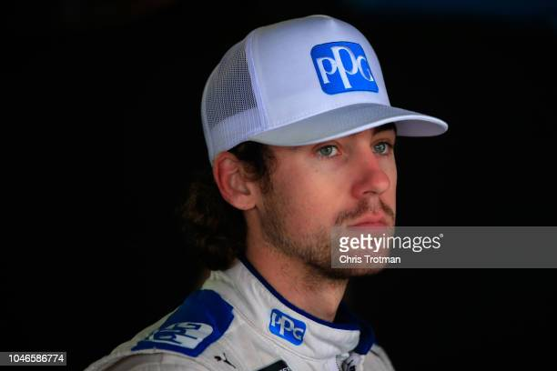 Ryan Blaney driver of the PPG Ford looks on during practice for the Monster Energy NASCAR Cup Series Gander Outdoors 400 at Dover International...