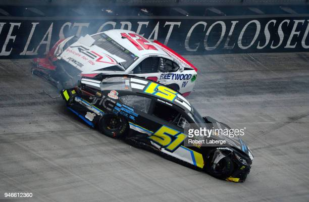 Ryan Blaney driver of the REV Ford and Harrison Rhodes driver of the Industrial Construction Experts Inc Chevrolet are involved in an ontrack...