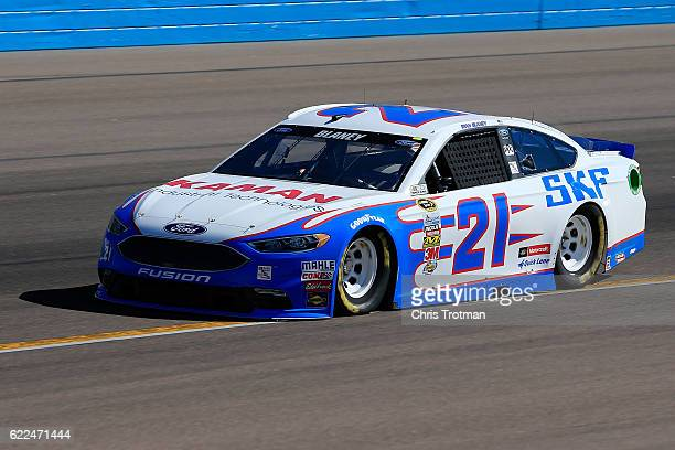 Ryan Blaney driver of the SKF Ford practices for the NASCAR Sprint Cup Series CanAm 500 at Phoenix International Raceway on November 11 2016 in...