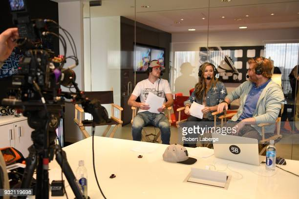 Ryan Blaney driver of the Team Penske Ford Fusion Kim Coon and Chuck Busch during a live podcast as NASCAR and Twitter announce a livestream...