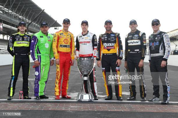 Ryan Blaney driver of the Wabash National Ford Ryan Newman driver of the Acorns Ford Joey Logano driver of the Shell Pennzoil Ford Brad Keselowski...