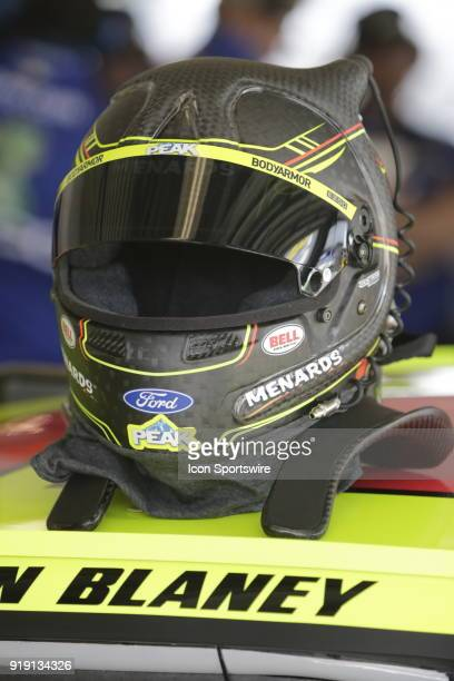 Ryan Blaney Penske Racing Menards/Peak Ford Fusion during practice for the 60th Daytona 500 on Friday February 16 2018 at Daytona International...