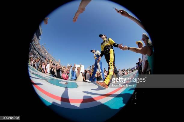 Ryan Blaney Penske Racing Menards/Peak Ford Fusion prior the running of the 60th Daytona 500 on Sunday February 182018 at Daytona International...