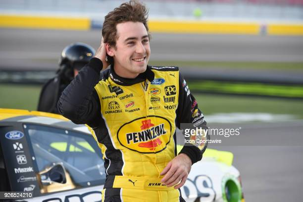 Ryan Blaney Team Penske Ford Fusion after winning the Stratosphere Pole for the Pennzoil 400 Monster Energy NASCAR Cup Series race on March 2 at Las...