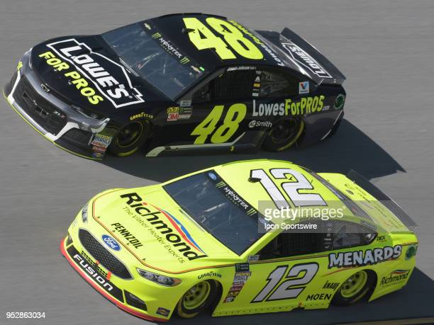 Ryan Blaney Team Penske Ford Fusion Menards/Richmond and Jimmie Johnson Hendrick Motorsports Chevrolet Camaro Lowe's for Pros race side by side...