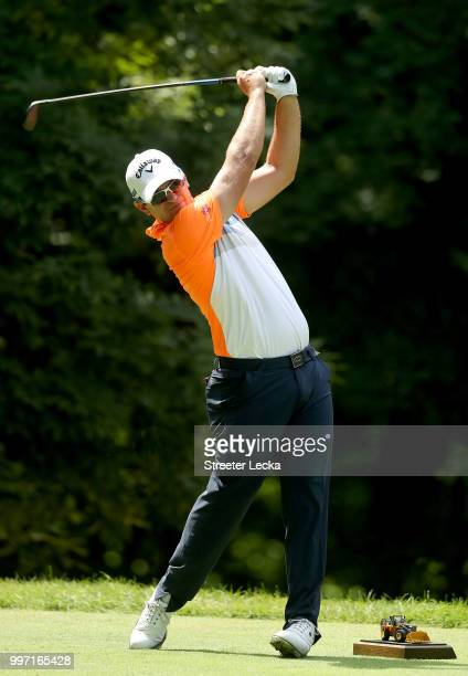 Ryan Blaum hits a tee shot on the sixth hole during the first round of the John Deere Classic at TPC Deere Run on July 12 2018 in Silvis Illinois