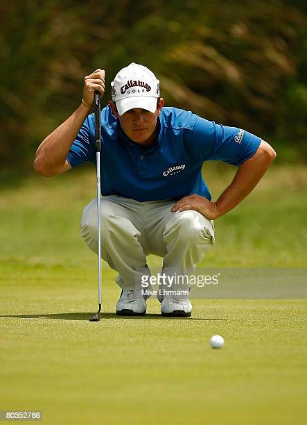 Ryan Blaum lines up a putt on the 7th hole during the final round of the Puerto Rico Open presented by Banco Popular held on March 23 2008 at Coco...