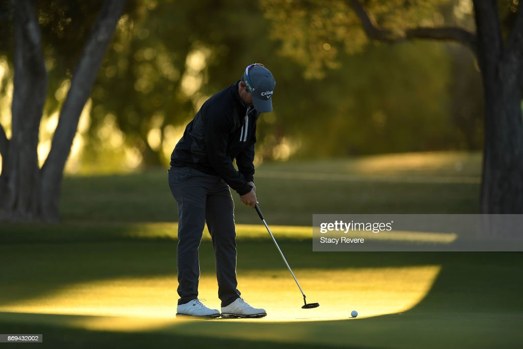 Ryan Blaum putts for birdie on the 11th green during the first round of the Shriners Hospitals For Children Open at TPC Summerlin on November 2, 2017 in Las Vegas, Nevada.