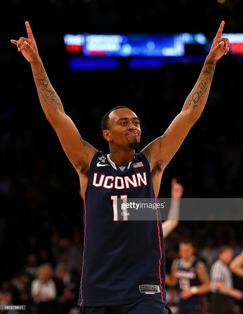 Ryan Boatright #11 of the Connecticut Huskies celebrates after defeating the Michigan State Spartans during the East Regional Final of the 2014 NCAA Men's Basketball Tournament at Madison Square Garden on March 30, 2014 in New York City.