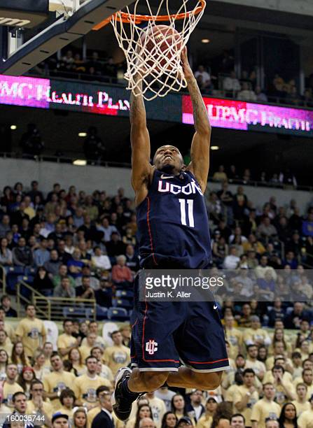 Ryan Boatright of the Connecticut Huskies handles the ball against the Pittsburgh Panthers at Petersen Events Center on January 19, 2013 in...