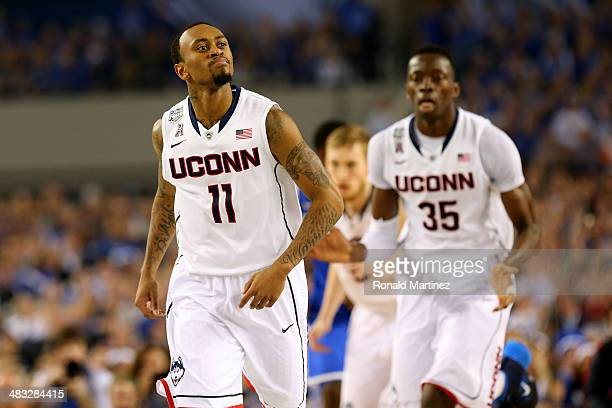 Ryan Boatright of the Connecticut Huskies reacts against the Kentucky Wildcats during the NCAA Men's Final Four Championship at AT&T Stadium on April...