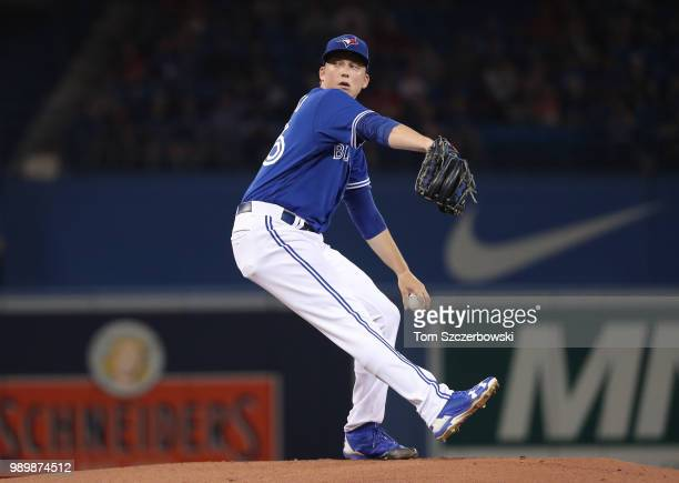 Ryan Borucki of the Toronto Blue Jays delivers a pitch in the first inning during MLB game action against the Detroit Tigers at Rogers Centre on July...