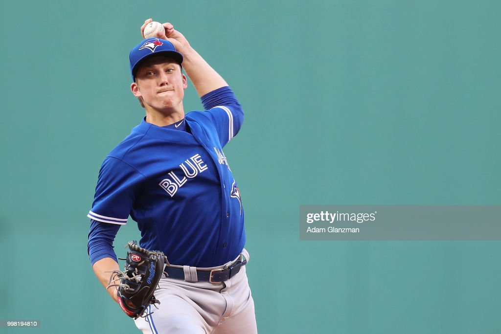 Ryan Borucki #56 of the Toronto Blue Jays pitches in the first inning of a game against the Boston Red Sox at Fenway Park on July 13, 2018 in Boston, Massachusetts.